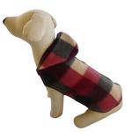 View Image 2 of Buffalo Plaid Hooded Dog Pullover - Black and Burgundy