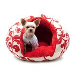 View Image 1 of Burger Pet Bed by Dogo - Red Floral
