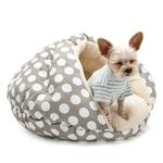 View Image 1 of Burger Pet Bed by Dogo - Polka Dot Gray