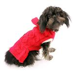 View Image 1 of Cable Hoodie Dog Sweater Dress by Dogo - Red