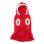View Image 2 of Cable Hoodie Dog Sweater Dress by Dogo - Red