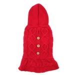 View Image 3 of Cable Hoodie Dog Sweater Dress by Dogo - Red