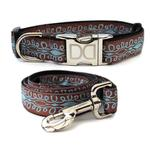 View Image 1 of Calligraphy Brown Dog Collar and Leash Set by Diva Dog
