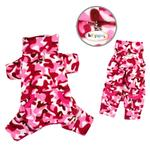 View Image 1 of Camouflage Fleece Turtleneck Dog Pajamas by Klippo - Pink