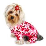 View Image 2 of Camouflage Fleece Turtleneck Dog Pajamas by Klippo - Pink