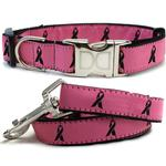 View Image 1 of Cancer Awareness Dog Collar and Leash Set by Diva Dog - Pink