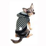 View Image 2 of Candy Striped Hooded Dog Sweater by Hip Doggie - Black