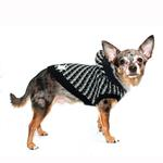 View Image 3 of Candy Striped Hooded Dog Sweater by Hip Doggie - Black