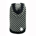 View Image 1 of Candy Striped Hooded Dog Sweater by Hip Doggie - Black
