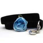 View Image 2 of Carnation Blue Velvet Small Dog Collar and Leash Set by Diva Dog