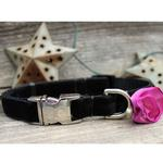 View Image 4 of Carnation Orchid Velvet Small Dog Collar and Leash Set by Diva Dog