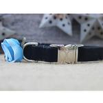 View Image 3 of Carnation Blue Velvet Small Dog Collar and Leash Set by Diva Dog