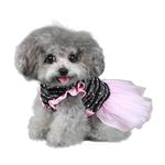 View Image 2 of Caroline Party Dog Dress - Black and Pink
