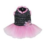 View Image 1 of Caroline Party Dog Dress - Black and Pink