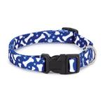 View Image 1 of Casual Canine Pooch Pattern Dog Collar - Blue with Bones
