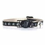 View Image 2 of Casual Kitty Two Tone Pawprint Cat Collar - Black