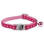 View Image 1 of Casual Kitty Two Tone Pawprint Cat Collar - Pink