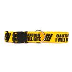 View Image 1 of Caution Dog Collar by Yellow Dog - I Will Bite