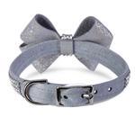 View Image 2 of Platinum Glizerati Nouveau Bow 3 Row Giltmore Dog Collar by Susan Lanci - Platinum
