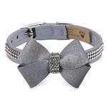 View Image 1 of Platinum Glizerati Nouveau Bow 3 Row Giltmore Dog Collar by Susan Lanci - Platinum