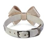 View Image 2 of Champagne Glizerati Nouveau Bow 3 Row Giltmore Dog Collar by Susan Lanci - Doe