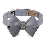 View Image 1 of Platinum Glizerati Nouveau Bow Luxury Dog Collar by Susan Lanci - Platinum