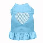 View Image 1 of Chevron Heart Screen Print Dog Dress - Baby Blue