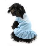 View Image 3 of Chevron Heart Screen Print Dog Dress - Baby Blue