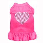 View Image 1 of Chevron Heart Screen Print Dog Dress - Bright Pink