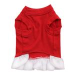 View Image 3 of Chevron Heart Screenprint Dog Dress - Red with a White Skirt