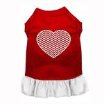 View Image 1 of Chevron Heart Screenprint Dog Dress - Red with a White Skirt