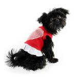 View Image 2 of Chevron Heart Screenprint Dog Dress - Red with a White Skirt