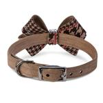 View Image 2 of Chocolate Glen Houndstooth Nouveau Bow Luxury Dog Collar by Susan Lanci - Fawn