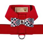 View Image 1 of Classic Glen Houndstooth Big Bow Tinkie Dog Harness by Susan Lanci - Red