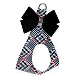 View Image 1 of Classic Glen Houndstooth Black Nouveau Bow Step-In Dog Harness by Susan Lanci