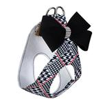 View Image 2 of Classic Glen Houndstooth Black Nouveau Bow Step-In Dog Harness by Susan Lanci