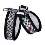 View Image 2 of Classic Glen Houndstooth Tinkie Dog Harness with Really Big Bow and Trim by Susan Lanci - Black & White