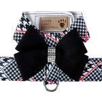 View Image 1 of Classic Glen Houndstooth with Black Nouveau Bow Tinkie Dog Harness by Susan Lanci