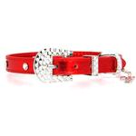 View Image 2 of Foxy Metallic Red Christmas Collar w/Candy Cane Charm by Cha-Cha Couture