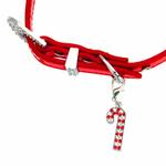 View Image 4 of Foxy Metallic Red Christmas Collar w/Candy Cane Charm by Cha-Cha Couture