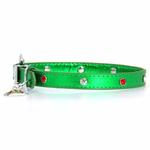 View Image 1 of Foxy Metallic Green Christmas Collar w/Christmas Tree Charm by Cha-Cha Couture