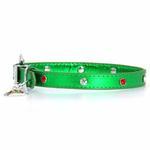 View Image 1 of Foxy Metallic Green Christmas Collar w/Christmas Tree Charm by Cha-Cha Couture