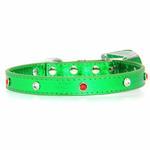 View Image 3 of Foxy Metallic Green Christmas Collar w/Christmas Tree Charm by Cha-Cha Couture