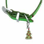 View Image 4 of Foxy Metallic Green Christmas Collar w/Christmas Tree Charm by Cha-Cha Couture
