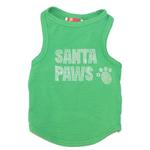View Image 1 of Rhinestone Santa Paws Christmas Dog Tank - Green