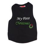 View Image 1 of My First Christmas Rhinestone Dog Tank - Black