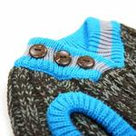 View Image 5 of City V-Neck Dog Sweater by Dogo - Brown with Blue Trim