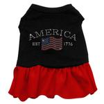 View Image 1 of Classic American Rhinestone Dog Dress - Black with Red Skirt