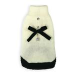 View Image 1 of Classic Coco Mohair Dog Sweater by Hip Doggie - Cream