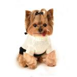 View Image 3 of Classic Coco Mohair Dog Sweater by Hip Doggie - Cream